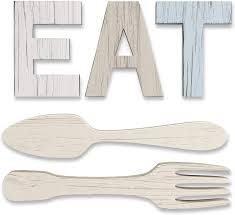 Best kitchen wall decor ideas Amazon Com Eat Sign Fork And Spoon Wall Decor For Kitchen Rustic Farmhouse Decoration Large Wooden Letters For Family Home Dining Room Everything Else