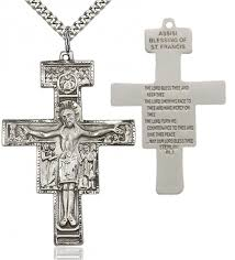 men s san damiano cross pendant sterling silver