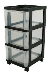 IRIS Medium Storage Cart, 3 Drawers, 14-1/4 x 12 26-1/4 Inches, Black/Clear Inches