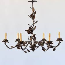 flowers leaves gilded spain spanish chandelier antique