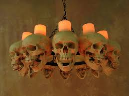 life size skull chandelier with 12 skulls using wax candles