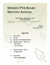 Mission Pta Board Meeting Agenda Template Agenda Templates Ready