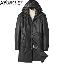2019 ayunsue genuine leather jacket men clothes 2018 winter white duck down jacket sheepskin coat hooded korean leather coats kj1258 from vikey08