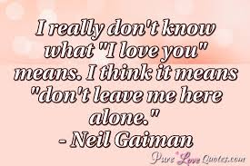 Love Means Quotes Mesmerizing I Really Don't Know What I Love You Means I Think It Means Don't