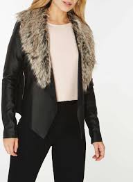 black faux fur collar waterfall jacket from dorothy perkins