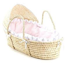 moses basket natural hooded with pink gingham bedding free today mattress 74 x 28