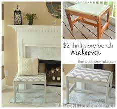 $2 Thrift Store Bench Makeover Gray and White Chevron Bench