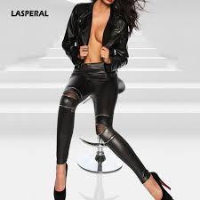 lasperal 2018 fashion black leather skinny pants women las pu