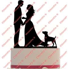 Custom Wedding Cake Topper Of A Couple With A Long Dress A Dog