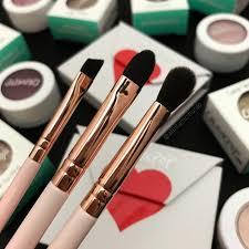 colourpop cosmetics makeup brushes l r angled eyeliner brush shader brush and blending brush polish