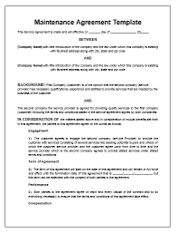 Free Service Contract Template Maintenance Agreement Template Microsoft Word Templates