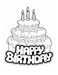 Small Picture Free Coloring Page Birthday Cake