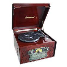 steepletone chichester iii nostalgic record player with radio cd cassette player dark wood