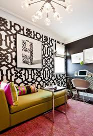 office with daybed. Glamorous #pink And #gold Accessories Among A Black White Themed Home # Office With Daybed