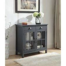 olivia 2 drawers grey accent cabinet with 2 glass doors