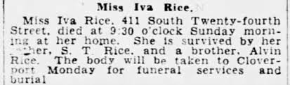 Obituary for Iva Rice - Newspapers.com