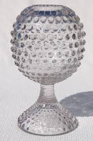 vintage hobnail glass ivy ball globe vase crystal clear pressed pattern glass