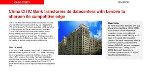 citic bank china citic bank transforms its datacenters with lenovo to sharpen it