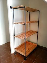 metal storage shelves. pallet and metal pipe storage rack / bookcase shelves
