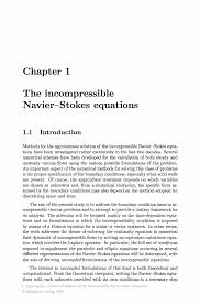 numerical solution of the incompressible navier stokes equations