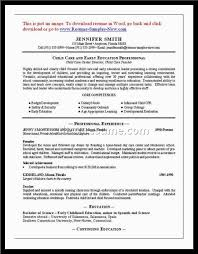 Sample Child Care Worker Resume Free Download Childcare Day