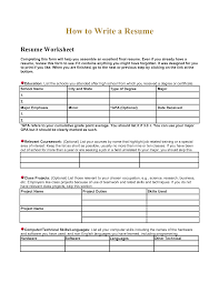 Resume Worksheet For High School Students Free Resume Example