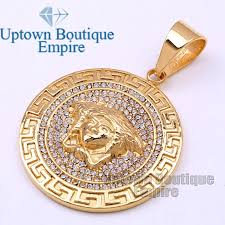 details about p25 men stainless steel gold medusa medallion pendant