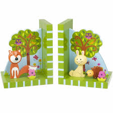 kids bookends woodland