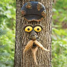 bits and pieces mustache man tree face yard art outdoor tree hugger sculpture garden decoration funny tree statue