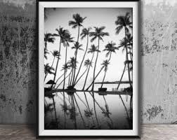 black and white photography palm trees print tropical print ocean print palm print coastal art beach wall art b w beach print 120 on white black wall art with black white photography etsy