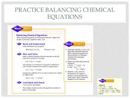 5 practice balancing chemical equations