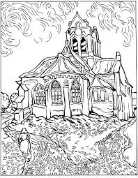 Small Picture Free coloring page coloring difficult van gogh auvers church The