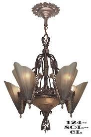 art deco chandeliers lighting slip shade style 6 light soleure series 124 sol