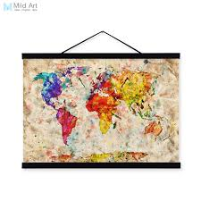 vintage retro colorful world map shabby chic wood framed canvas painting scroll wall art picture home on wall art canvas shabby chic with vintage retro colorful world map shabby chic wood framed canvas