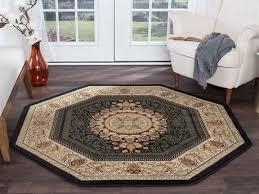 tayse rugs sensation jayden black octagon area rug tasns4673octa