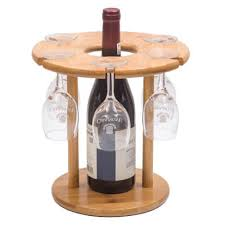 countertop wine rack and cup holder wine bottle display stand hanging stemware rack bamboo