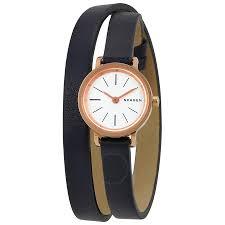 skagen hagen white dial las black leather double wrap watch skw2598