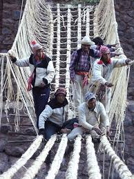 craftsmen from the community work together to build rope bridge an ancient tradition building a build a rope bridge