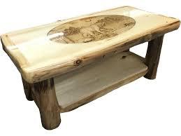 Bear Coffee Table Rustic Log Furniture Living Room Coffee Table Ctab 42 Nn Sh Ri