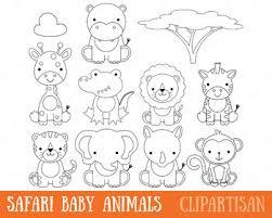 Safari Animals Template African Animals Clip Art Safari Animals Coloring Page