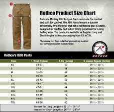 Rothco Pants Size Chart Bdu Shirt And Pant Size Charts Surplus Nation