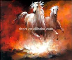 hand painted horse painting horses on red soil white horse canvas art