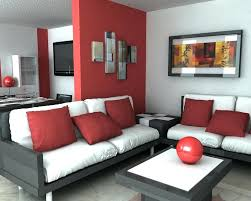 living room for apartment with black furniture and white foam using red wall paint color combination