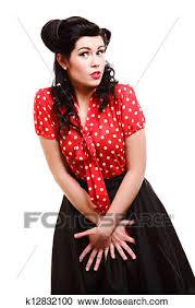 žena Pinup Makeup účes Postoj Do Ateliér Stock Obrazový Materiál