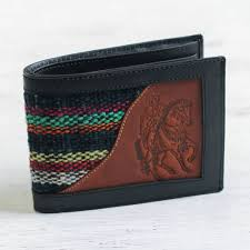men s black leather cowboy theme wallet with wool blue night rider