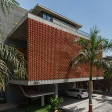 House Work Design Rippling Red Brick Facade Shades House In Surat By Design