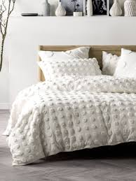 haze white quilt cover set modern chenille contemporary bedding textured bedding boho