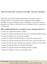 Top   convention services manager resume samples Top   convention services manager resume samples In this file  you can ref resume materials