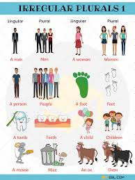 Irregular Plural Nouns Useful Rules List Examples 7 E S L