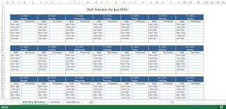 Employee Monthly Shift Schedule Excel Template Templates